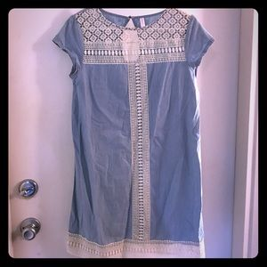 Xhiliration chambray and lace dress